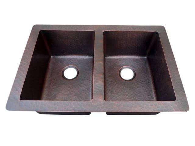 double bowl copper kitchen sink