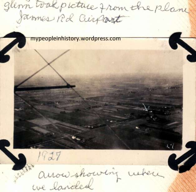 """Glenn took picture from the plane. James Rd. Airport. Arrow showing where we landed."""