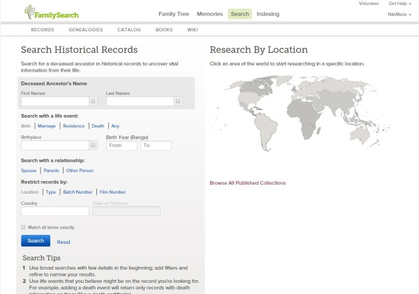 FamilySearch search page