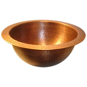 Round Hammered Copper Sink
