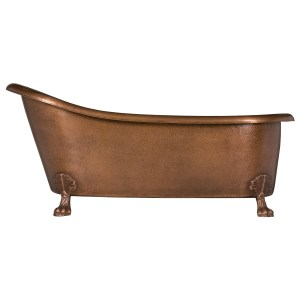 Hammered Copper Clawfoot Slipper Bathtub - Coppersmith Creations