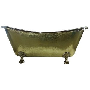 Clawfoot Brass Bathtub Hammered Exterior - Coppersmith Creations