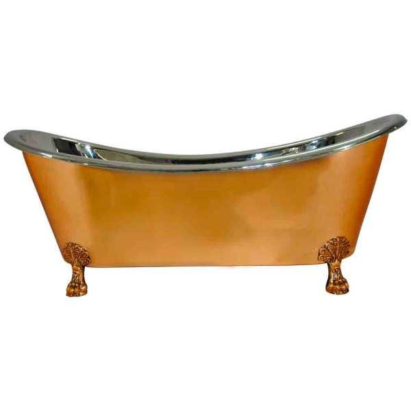 Copper Clawfoot Bathtub Nickel Inside - Coppersmith Creations