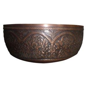 Double Wall Copper Sink Outside Hand Embossed Inside Plain