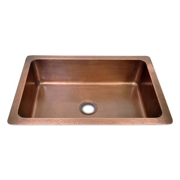Single Bow Single Wall Hammered Copper Kitchen Sink