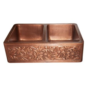Double Bowl Copper Kitchen Sink Embossed Front Apron Hammered Antique Finish