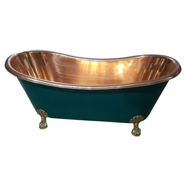 Copper Bathtub RAL 6004 Blue green Exterior & Brass Clawfoot Legs