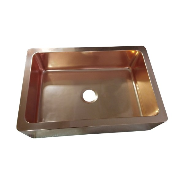 Single Bowl Copper Kitchen Sink Front Apron Smooth Shining Copper Finish