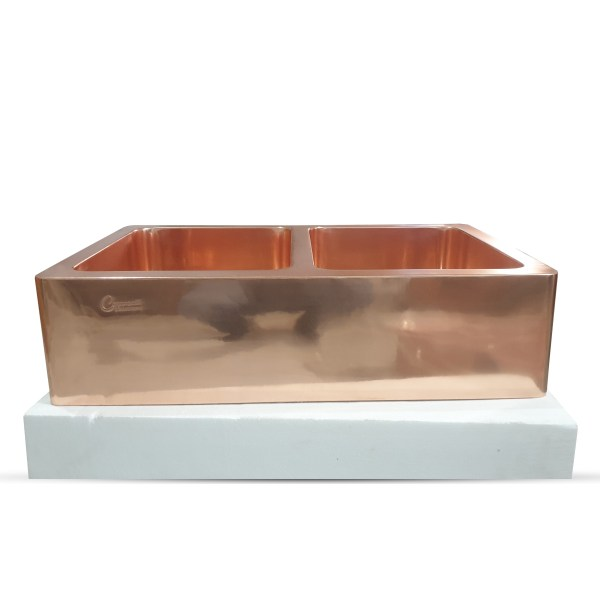 Double Bowl Copper Kitchen Sink Front Apron Smooth Shining Copper Finish