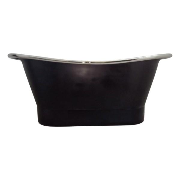 Straight Base Copper Bathtub Nickel Inside Black Outside