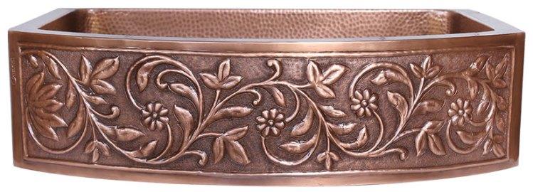 D Shape Vine Design Front Apron Copper Kitchen Sink