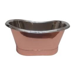 Copper Tub Style Sink Nickel Inside Copper Outside Straight Base