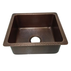 "Antique Hammered Copper Bar Sink 17.50"" x 15.50"" x 8"""