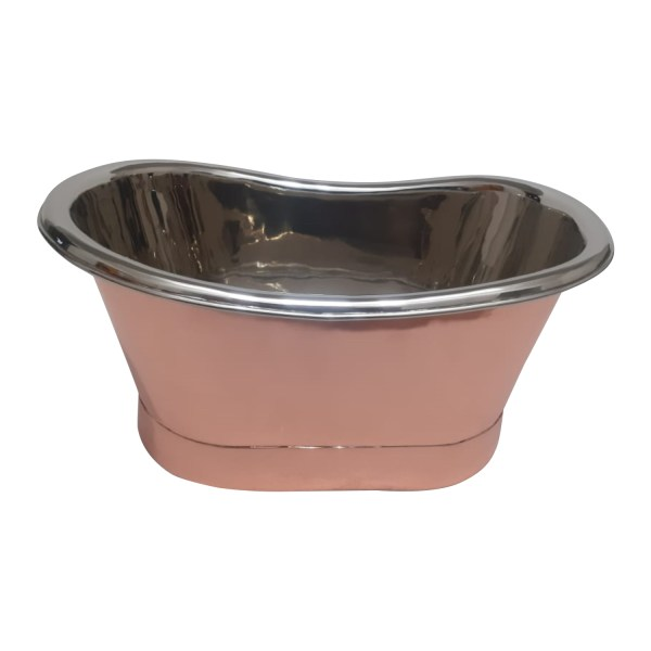 Copper Tub Style Sink Nickel Inside Copper Outside Straight Base