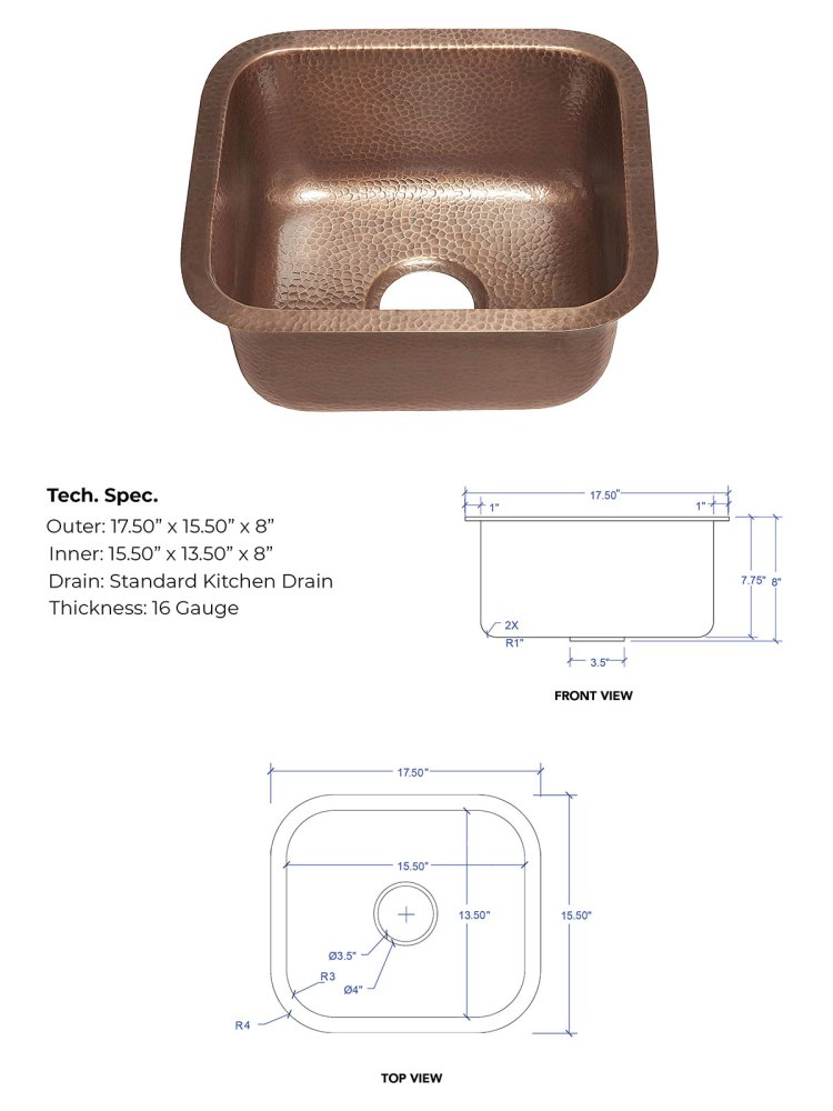 Antique Hammered Copper Bar Sink