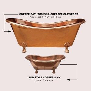 Clawfoot Copper Bathtub & Sink