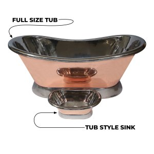 Copper Bathtub + Sink Nickel Inside & on Base