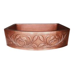D Shape Petal Front Apron Copper Kitchen Sink