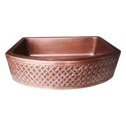 D Shape Woven Front Apron Copper Kitchen Sink