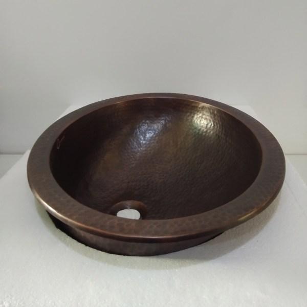 Oval Copper Sink Dark Antique 20 x 15.50 x 6 inch
