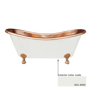 Clawfoot Copper Bathtub Matt White Powder Coated Outside