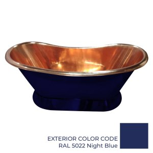 Slanting Base Copper Bathtub Copper Interior & RAL5022 Night Blue Exterior