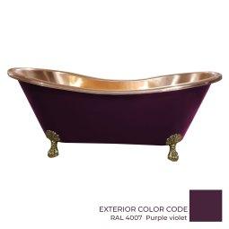 Clawfoot Copper Bathtub Polish Copper Inside RAL 4007 Purple violet Outside
