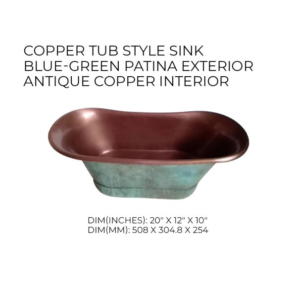 Copper Tub Style Sink Blue Green Patina Exterior Antique Copper Interior