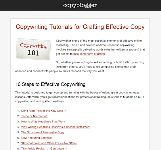 image of copyblogger copywriting 101 page