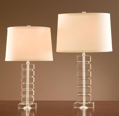 Restoration Hardware Stacked Crystal Block Lamps