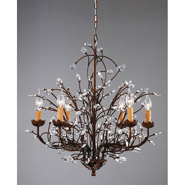 S Antique Bronze 6 Light Crystal And Iron Chandelier 236 99