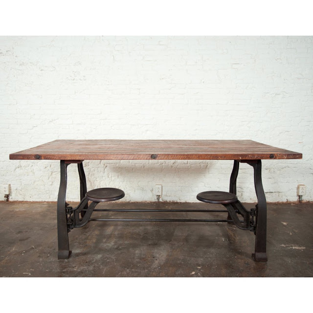 Nuevo V45 Reclaimed Wood Top Dining Table With Attached Stools