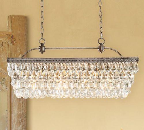 Trend  Flushmount Ceiling Chandelier Pottery Barn Clarissa Glass Drop Extra Long Rectangular Chandelier