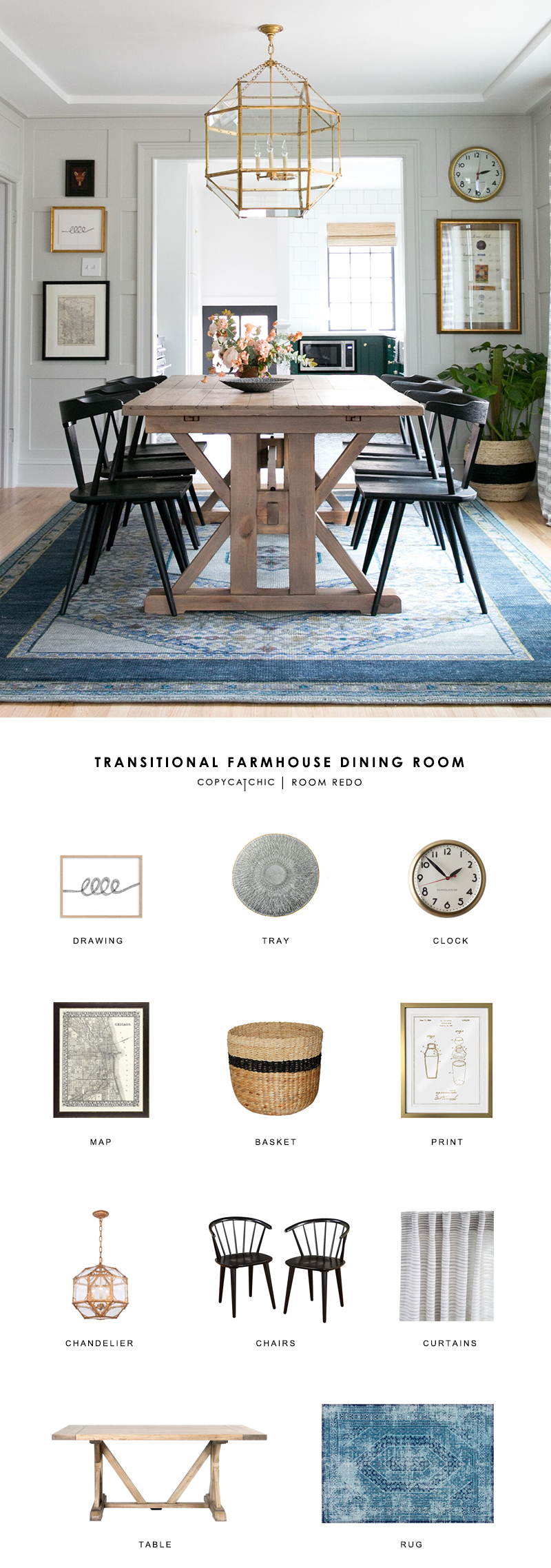 Room Redo Transitional Farmhouse Dining Room Copycatchic