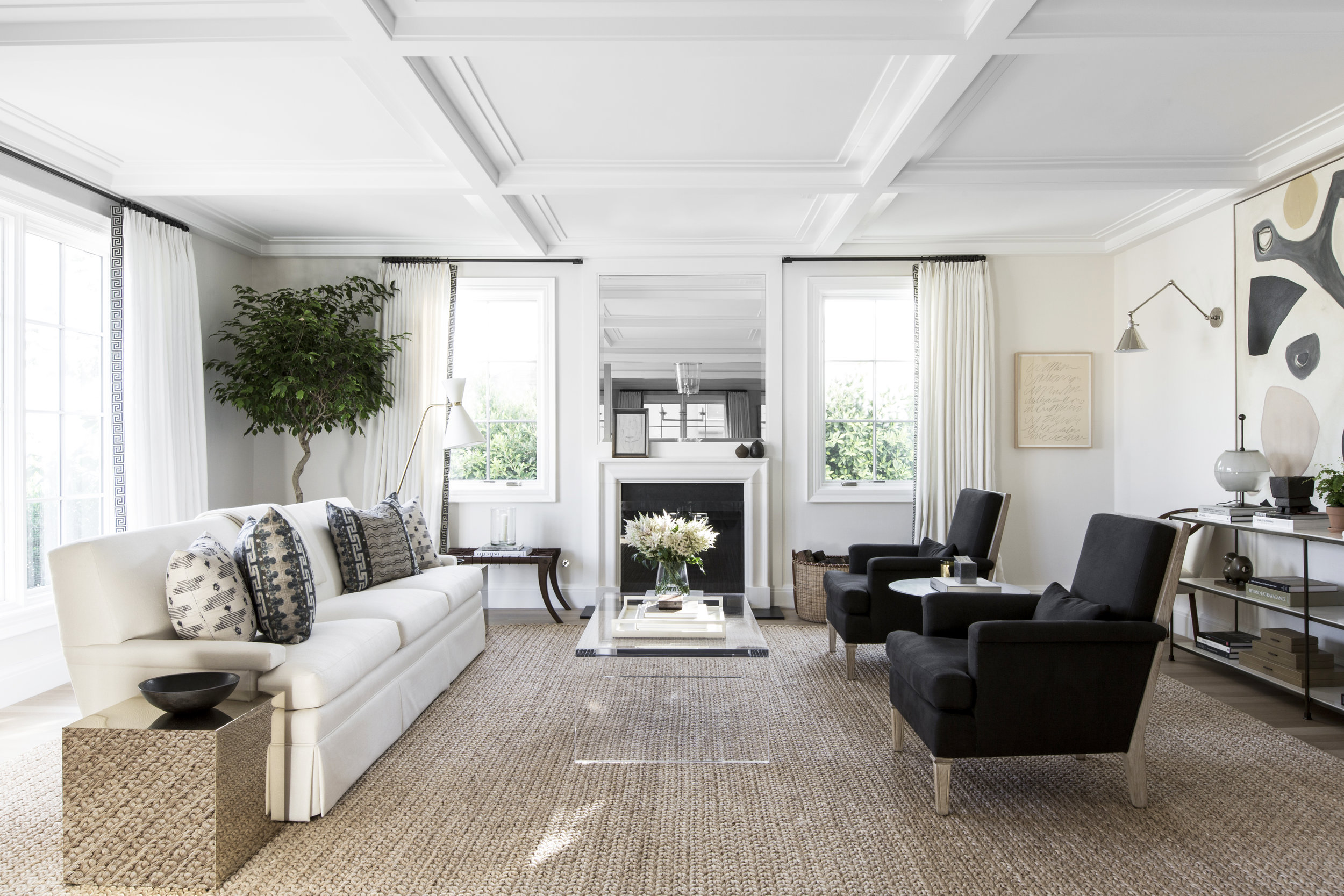 This Graphic Transitional Living Room By Alyssa Kapito Gets
