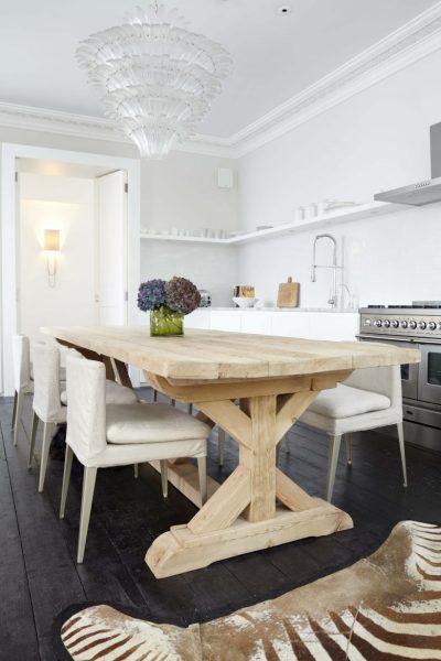 Daily Find Restoration Hardware Salvaged Wood Trestle Round Dining Table Copycatchic