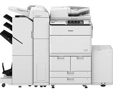 Canon imageRUNNER Advance 6575i (shown with sorter) prints up to 75 ppm in black and white. A single-pass, duplexing document feeder that holds up to 300 originals, scan up to 240/220 IPM. Authentication with Universal Login Manager (ULM). Motion sensor sleep mode. Produces consistently striking black-and-white tones at up to 1200-dpi resolution. Standard Genuine Adobe-PostScript and PCL support.