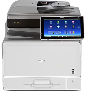 Ricoh MP C306 prints up to 31 black-and-white or full-color prints/copies per minute. Complete more jobs using less space! Use your personal mobile device to print any time. Move from one task to the next with a single touch. Help protect information while preserving energy and reducing operating costs.