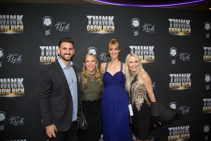 Travis Chappell, Allison Melody, Laura Petersen, and Mia Hewett at the Think and Grow Rich red carpet L.A. Premiere