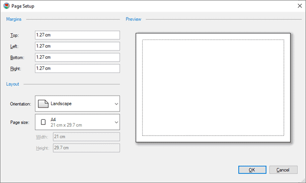 Adjust the page margins, orientation, and paper size.