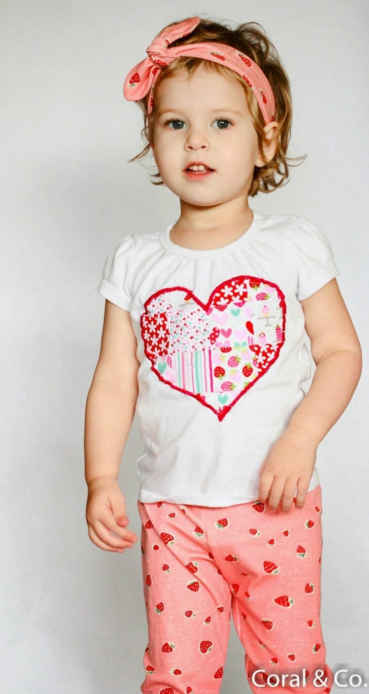 Valentines Day Outfit with Organic Strawberry Leggings and a Patchwork Heart T-shirt. Made by Coral & Co. (9 of 14)