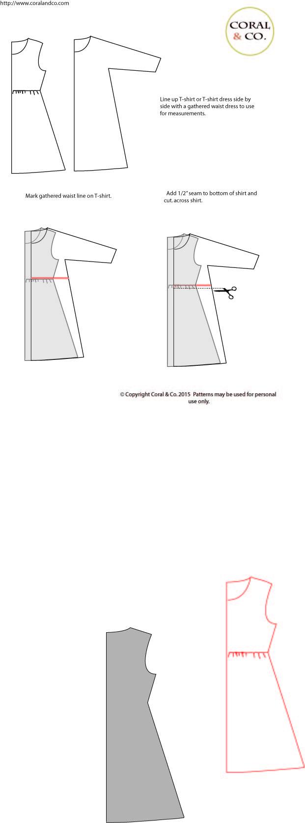 DIY T-shirt Dress Tutorial - How to add a skirt to a shirt