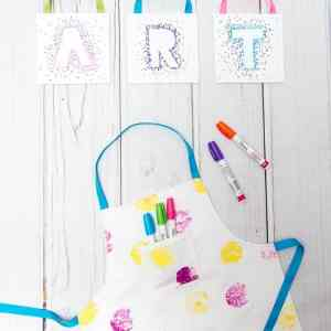 DIY Kids Reversible Apron Pattern and Tutorial + Canvas Sharpie Art