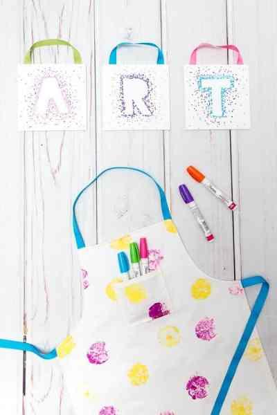 DIY Kids Reversible Apron Pattern and Tutorial +  Canvas Sharpie Art