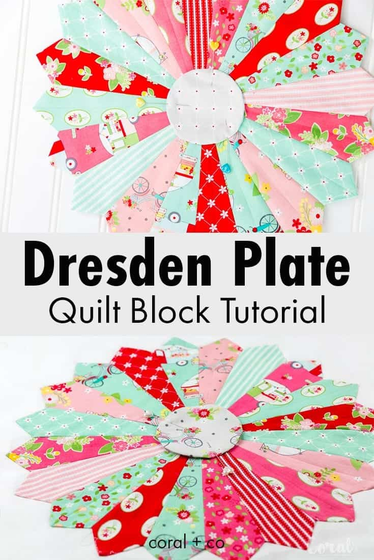 How to make a Dresden Plate Quilt Block Tutorial with Template.  Dresden plate patterns are perfect for sewing with scraps, watch the video to learn how to make this easy quilt block.  #dresdenplate #quilt #quiltblock #quilts #sewing #quiltingtutorial #quiltpattern