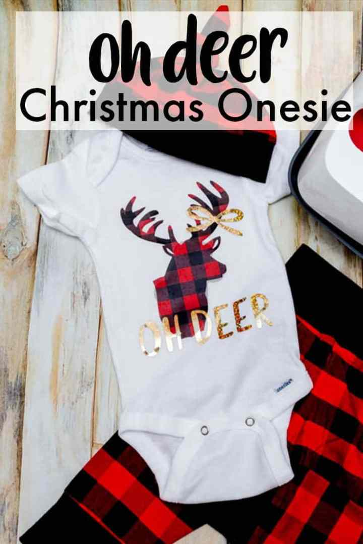 Oh Deer Onesie With Cricut Buffalo Plaid Iron On Tutorial Easypress 2 Coral Co