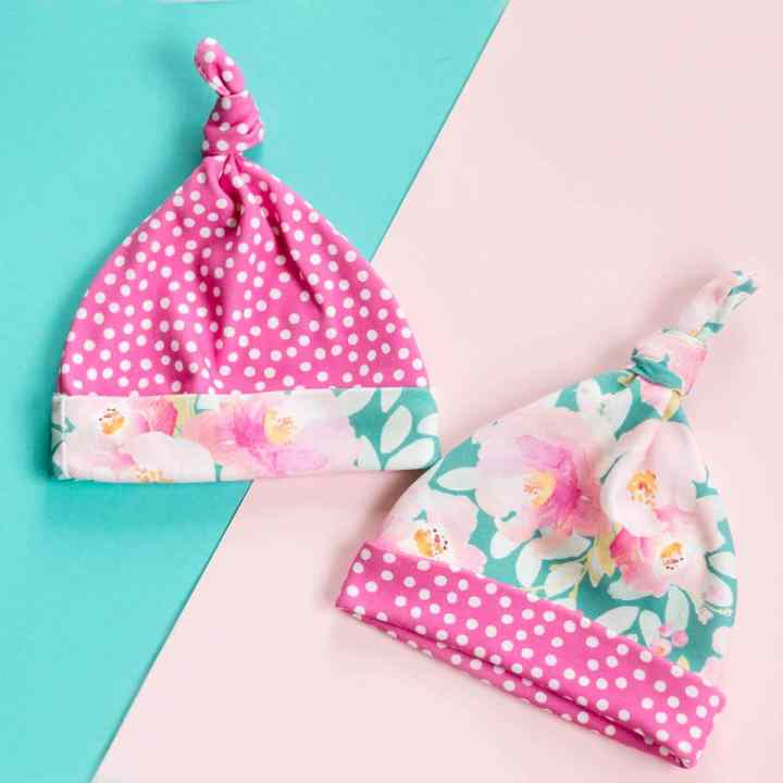 two-top-knot-baby-hats-pink-and-teal