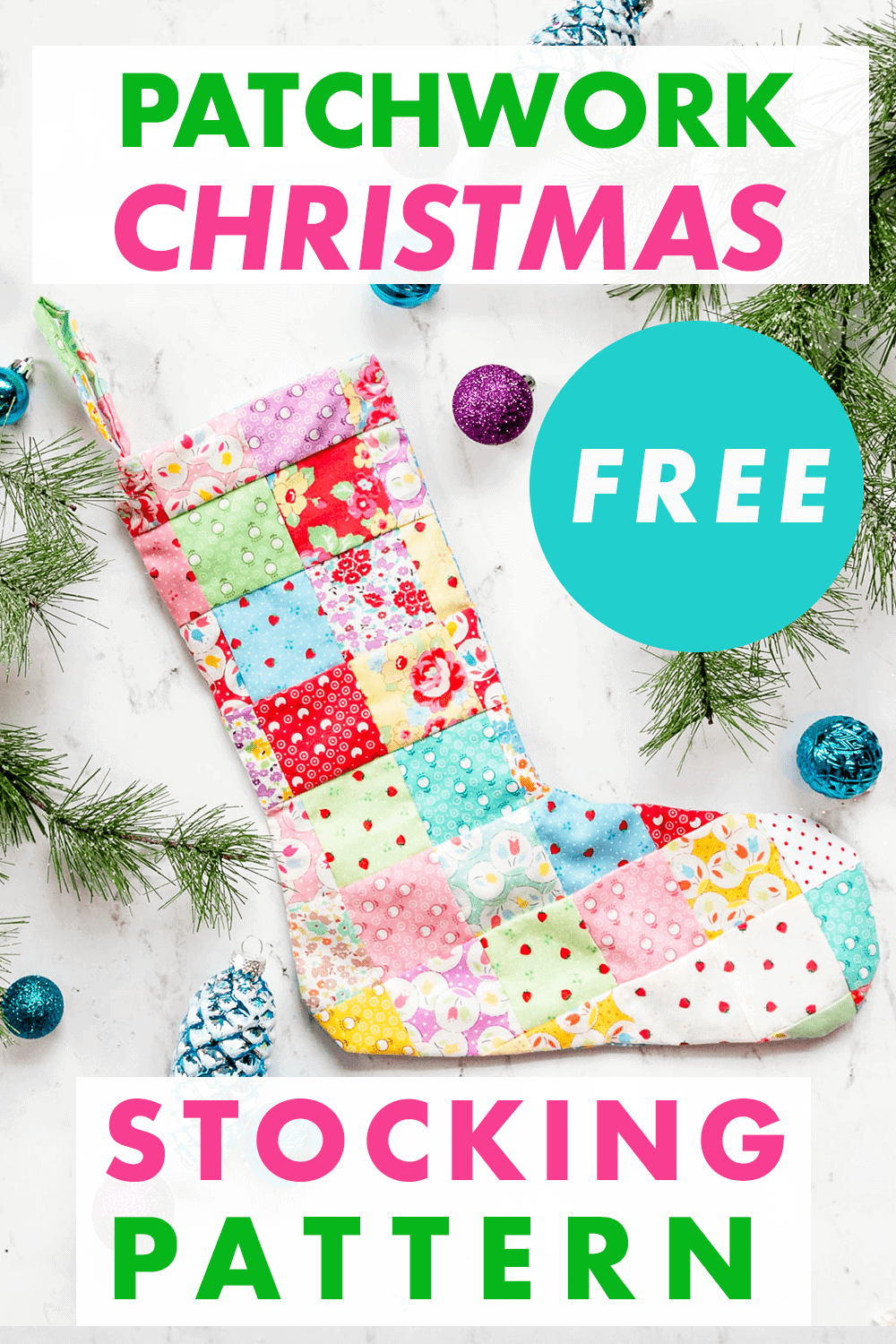 Patchwork Christmas Stocking - Free Sewing Pattern
