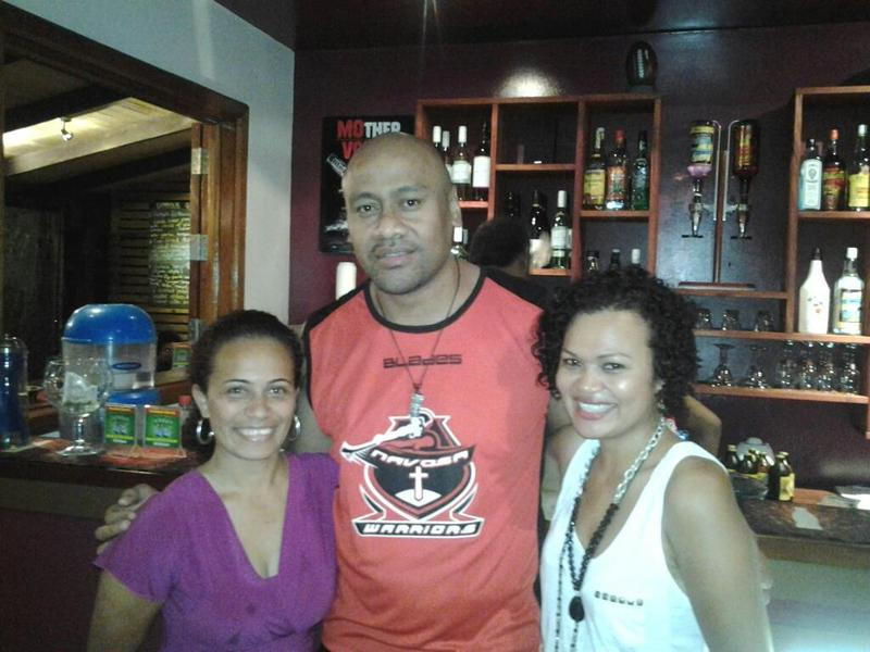 Lolla and Jonah Lomu at Koko's Bar, Korotogo, Fiji