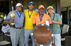 Tournament winners Men at work (L-R Wella Pillay, Ram Reddy, Alvin Singh and S.R Kim)